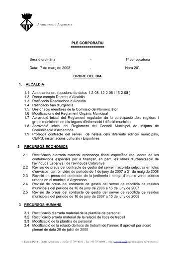 1ª convocatòria Data: 7 de març de 2 - Ajuntament d'Argentona