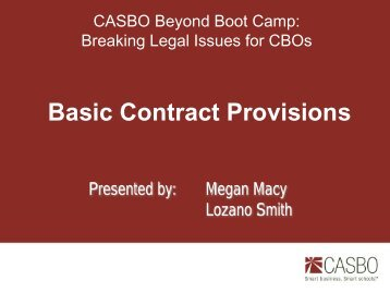 Basic Contract Provisions