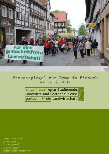 Pressespiegel zur Demo in Einbeck am 18.4.2009 - www . kws ...