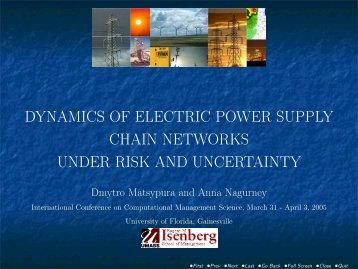 dynamics of electric power supply chain networks under risk and ...