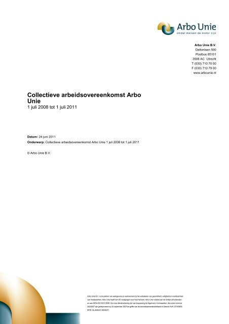 CAO Arbo Unie 2008-2011 - LAD - Landelijke vereniging van Artsen ...