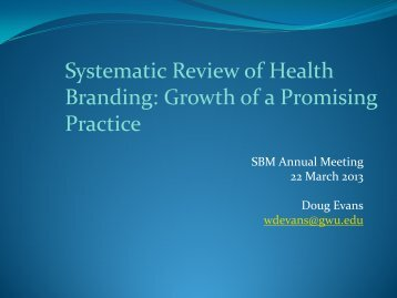 Systematic Review of Health Branding: Growth of a Promising Practice