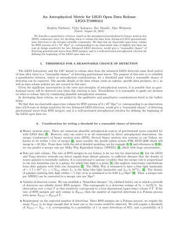 document - DCC - LIGO Scientific Collaboration