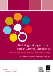 Exploring and Implementing Person Centred Approaches - ADHC