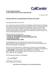 An die CallCenterProfis in den Inhouse-Call Centern Deutschlands ...