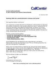 An die CallCenterProfis in den Inhouse-Call Centern Deutschlands ...