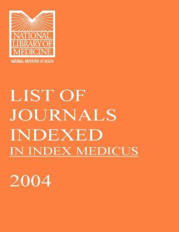 Journal List (Index Medicus) - Khon Kaen University Medical Library