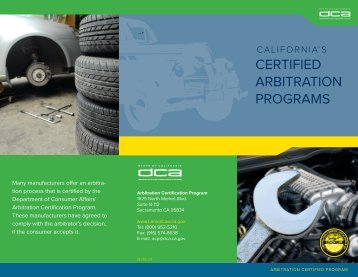 Certified ArbitrAtion ProgrAms - Department of Consumer Affairs