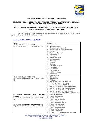 Edital 005 - Locais de Prova - asperhs
