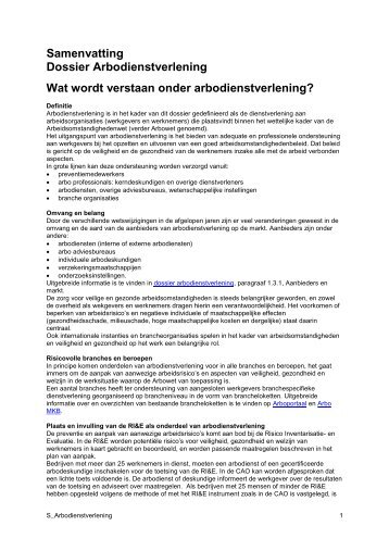 Samenvatting Dossier Arbodienstverlening Wat ... - Arbokennisnet