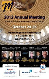 MHPA 2012 Annual Meeting - Medicaid Health Plans of America