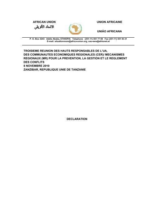 Déclaration de Zanzibar - African Union