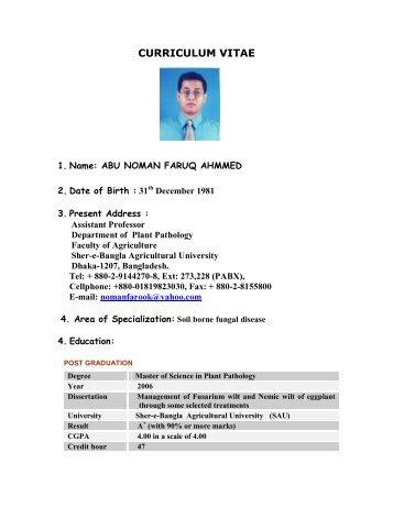 cv of noman plant pathology sher e bangla agricultural university