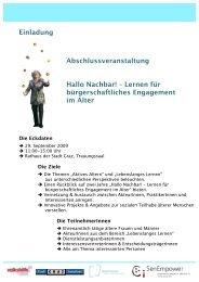 Einladung Abschlussveranstaltung Hallo Nachbar! – Lernen für ...