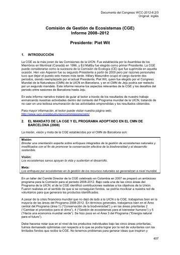 SP-WCC-2012-8.2-2 Informe del Presidente de la CGE - IUCN Portals