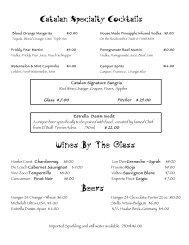 Wine list - Catalan Restaurant, Rancho Mirage