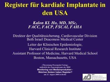 Dr. Kalon Ho, Harvard Clinical Research Institut (Folien zum - MDS