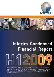 Metris Interim Condensed Financial Report - Nikon