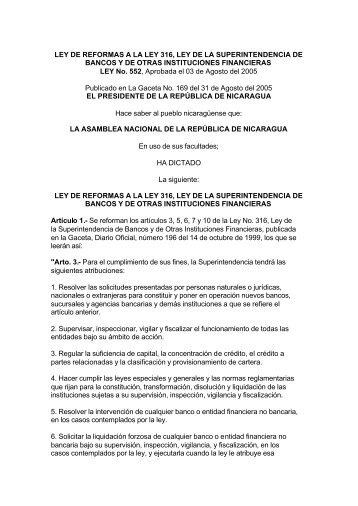 LEY DE REFORMAS A LA LEY 316, LEY DE LA ...