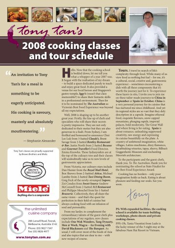 2008 cooking classes and tour schedule - Tony Tan's Unlimited ...