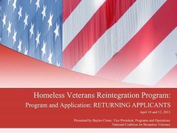 April 10 and 12, 2013 webinar - National Coalition for Homeless ...