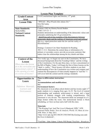 Inquiry Lesson Plan Gradecontent Area Lesson Title Edc430 03
