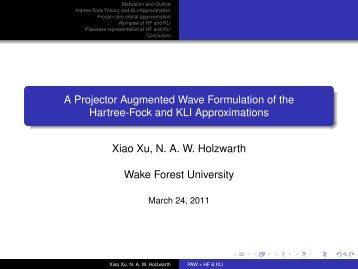 A Projector Augmented Wave Formulation of the Hartree-Fock and ...