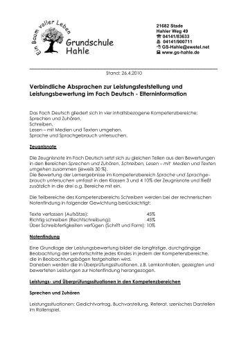 Verbindliche Absprachen zur  Leistungsfeststellung und ...