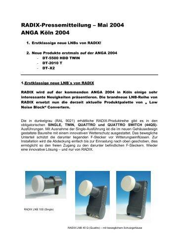 RADIX-Pressemitteilung – Mai 2004 ANGA Köln 2004