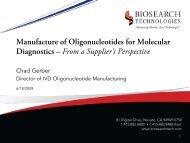 Manufacture of Oligonucleotides for Molecular Diagnostics: A ...