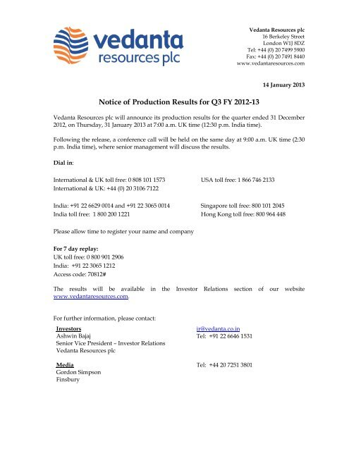 FY 2013 Preliminary Results Notice and Conference Call Details