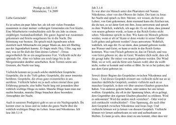 Predigt zu Joh 3,1-8 Meimsheim, 7.6.2009 Liebe Gemeinde! Es ist ...