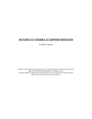 RICORDI DI GUERRA DI ARTHUR KRUEGER - I Recuperanti
