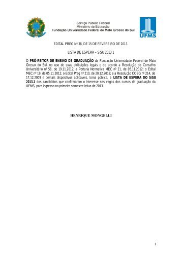 Sistema de Seleção Unificado 2013 - Verão - copeve - ufms