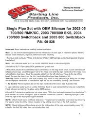 09-6801 Instruction Sheet - Starting Line Products, Inc