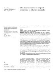 The mucosal barrier at implant abutments of different materials