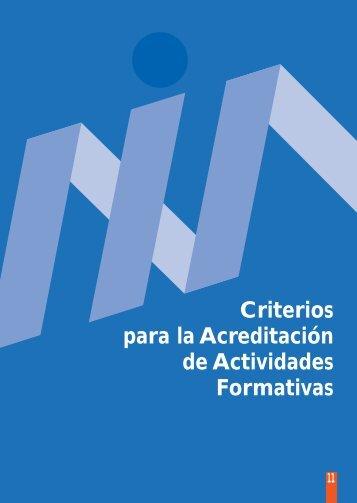Criterios para la acreditación de actividades formativas