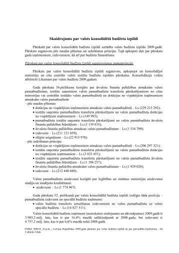 Skaidrojums par valsts konsolidētā budžeta izpildi - Valsts kase