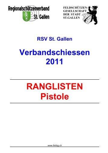 RSV St. Gallen Verbandschiessen 2011 RANGLISTEN Pistole