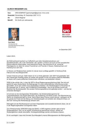 Kurt BECK zum Jahreswechsel - SPD