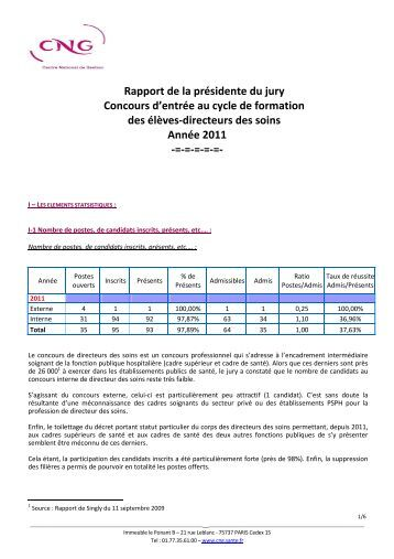 Rapport de la présidente du jury Concours d'entrée au cycle ... - CNG