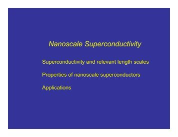 Nanoscale Superconductivity
