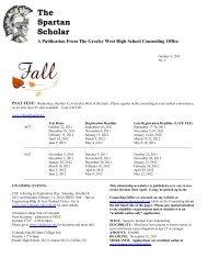 The Spartan Scholar - Greeley West High School