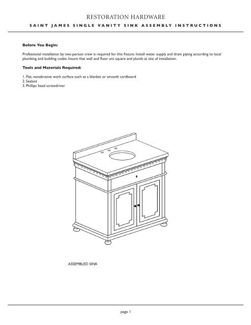 Page Saint James Single Vanity Sink Assembly Instructions