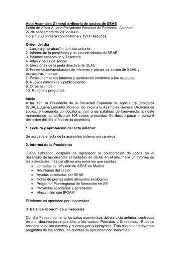 Acta Asamblea General ordinaria de SEAE. Albacete, 27 - Sociedad ...