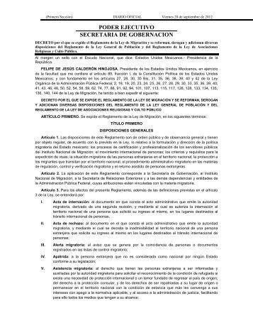 Decreto por el que se expide el Reglamento de la Ley de Migración ...
