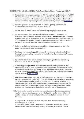 instructies voor auteurs - Nederlandse Vereniging voor Fytotherapie