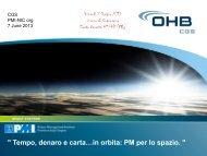 Tempo, denaro e carta…in orbita: PM per lo spazio. - PMI-NIC