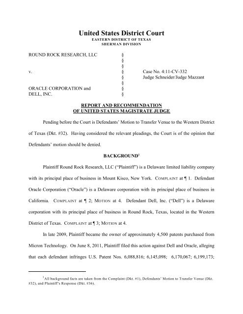 Round Rock Research, LLC v  Oracle Corporation and Dell, Inc