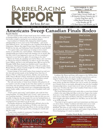 Americans Sweep Canadian Finals Rodeo - Barrel Racing Report